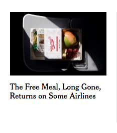 good headline: The free meal, long gone, returns on some airlines