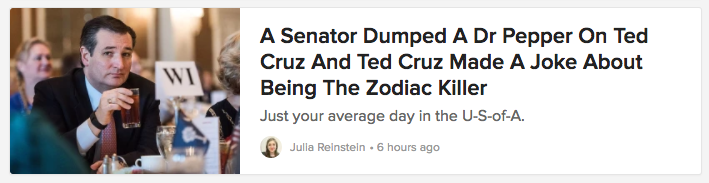 headline: A Senator Dumped a Dr Pepper on Ted Cruz and Ted Cruz Made a Joke About Being the Zodiac Killer