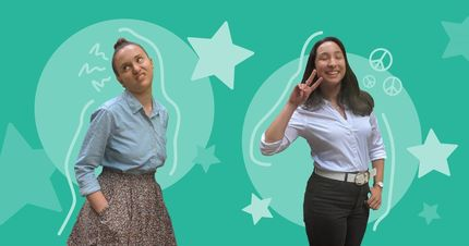 graphic of two women with a green background and stars
