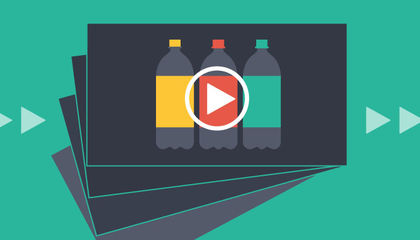 three plastic bottles on a video graphic